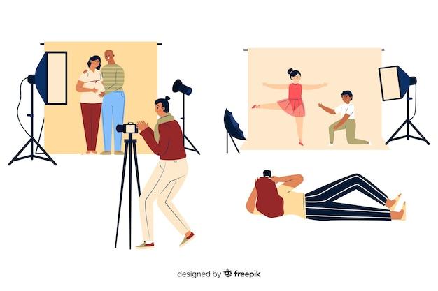 Fotografen die in de studio werken