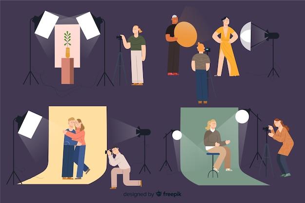 Fotografen die in hun studiopakket werken