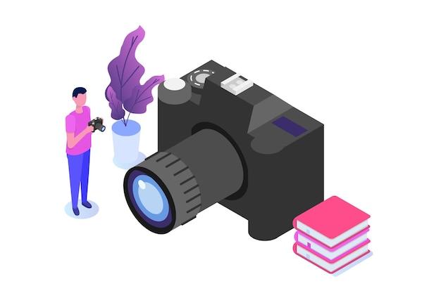 Fotografie cursussen of klasse, tutorials, workshops concept. vector illustratie