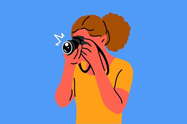 Fotografie, hobby, beroep, schietpartijen, creativiteit concept Premium Vector