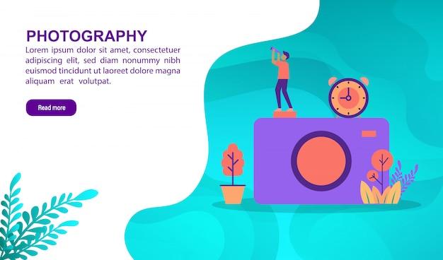 Fotografie illustratie concept met karakter. bestemmingspaginasjabloon