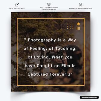 Fotografie instagram post webbanner sjabloon vector premium vector