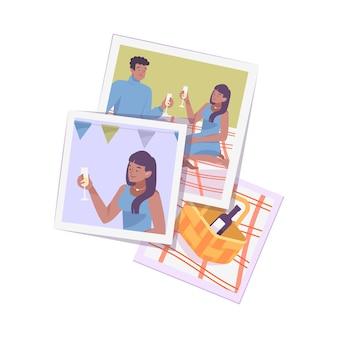 Fotografie proces platte compositie met stapel vierkante foto's van feest