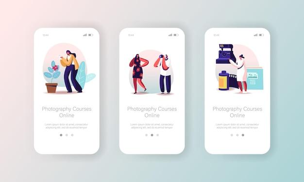 Fotografiecursussen mobiele app-pagina onboard-schermsjabloon.
