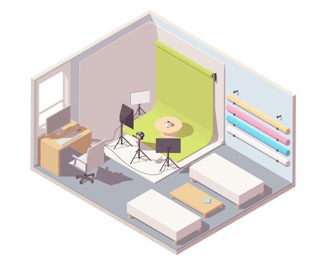 Fotografiestudio met achtergrond, camera op het statief, verlichtingsapparatuur en bureau met computer