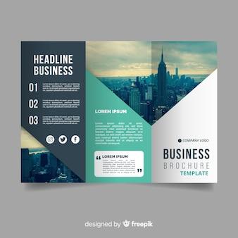 Fotografische abstracte driebladige brochure