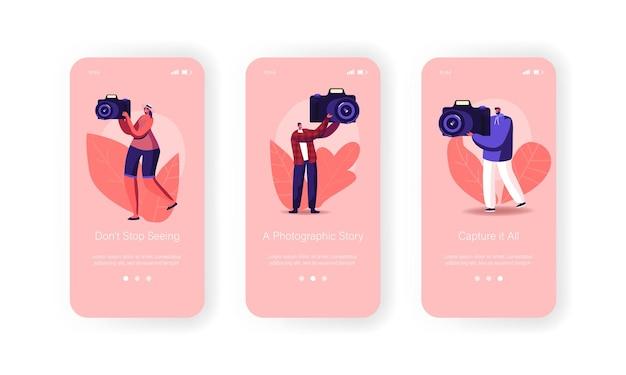 Fotografische cursussen mobiele app-pagina schermsjabloon aan boord