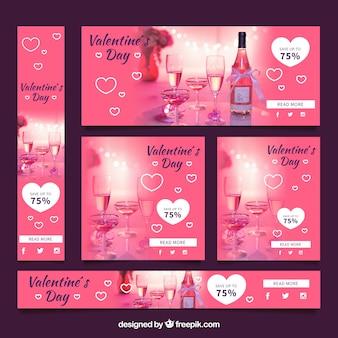 Fotografische de verkoopbanner van de valentijnskaartendag