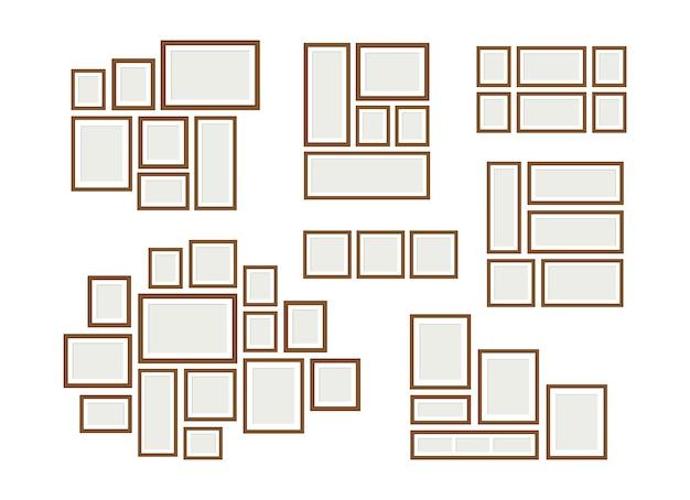 Fotolijst collages. decoratieve beeldtentoonstelling, lege frames-mockups. familiegalerij, wanddecoraties vectorillustratie