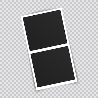 Fotolijst mockup ontwerp. fotoframe op plakband geïsoleerd op transparante achtergrond.