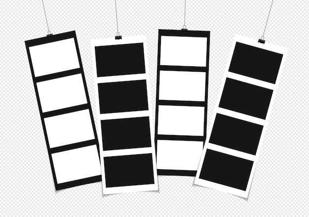 Fotolijst mockup ontwerp op plakband geïsoleerd op transparante achtergrond