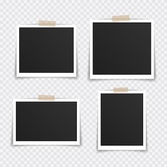 Fotolijst mockup ontwerp. super set fotoframe op plakband geïsoleerd op transparante achtergrond.