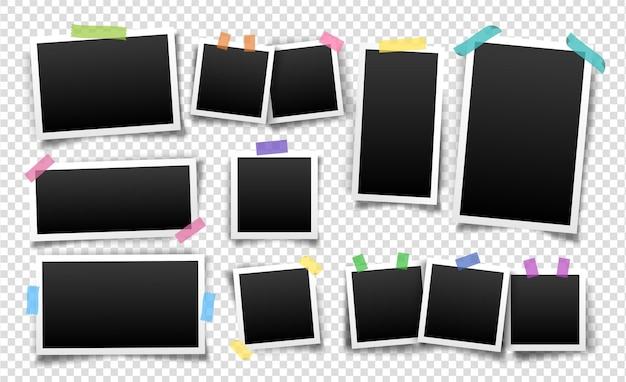 Fotolijsten bevestigd met plakbandsjablonen, realistische lege foto's