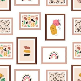 Fotolijsten die op het muur naadloze patroon hangen