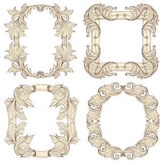Fotolijsten in barokke antieke stijl. retro frames graveren.