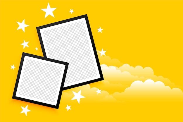 Fotolijsten in kinderstijl met wolk en sterren