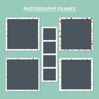 Fotolijsten met kleurrijke achtergronden