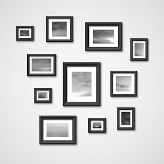 Fotolijsten met natuurfoto's aan de muur. interieur ontwerp vectorillustratie