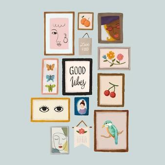 Fotolijsten op een grijze muur schets stijl vector