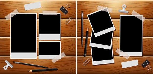 Fotolijsten op een houten bord met andere schrijfwaren