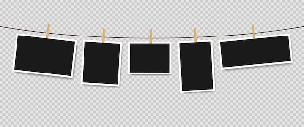 Fotolijsten opknoping op touw geïsoleerd. vectorillustratie eps 10