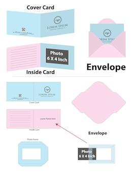 Fotolijstkaart met envelop dieline mockup