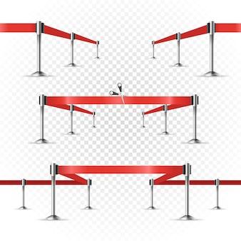 Fotorealistisch helder podium met projectoren en lint. presentatie vector sjabloon. vector linten ingesteld op transparant