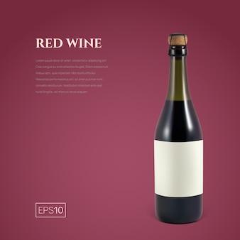 Fotorealistische fles rode mousserende wijn op bordeaux