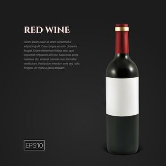 Fotorealistische fles rode wijn op zwart