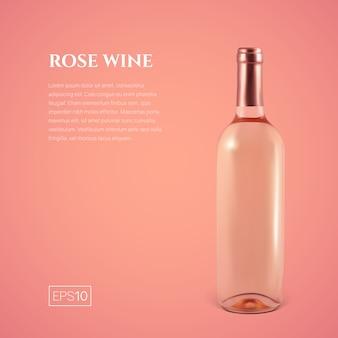 Fotorealistische fles rose wijn op roze