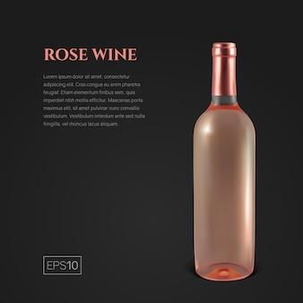 Fotorealistische fles rose wijn op zwart