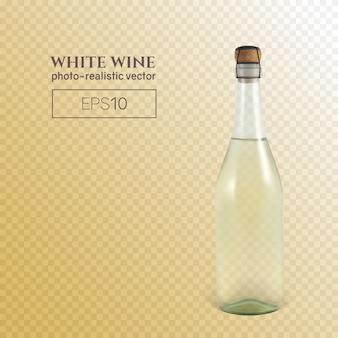 Fotorealistische fles witte schuimwijn op transparant.