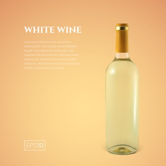 Fotorealistische fles witte wijn op geel