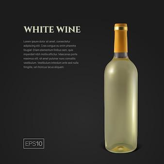 Fotorealistische fles witte wijn op zwart