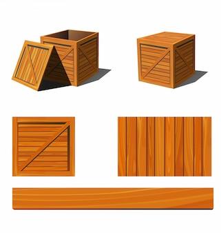 Fotorealistische houten kist en texturen. illustratie.