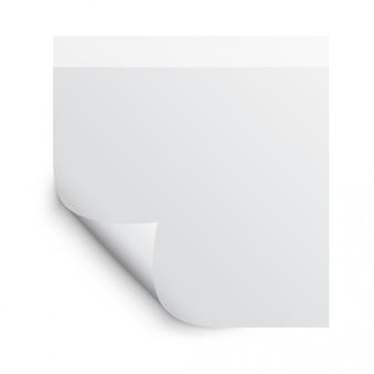 Fotorealistische paginakrul met schaduw op een blanco vel notitiepapier. ontwerpelement voor reclame en promotionele boodschap geïsoleerd op een witte achtergrond