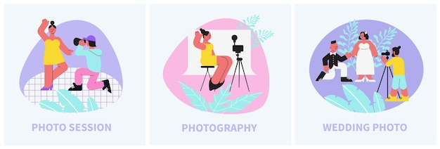 Fotosessie compositie platte illustraties