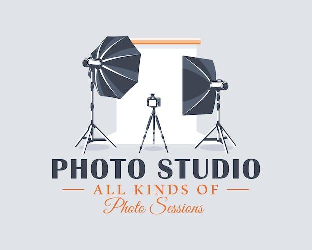 Fotostudio label in cartoon stijl vectorillustratie