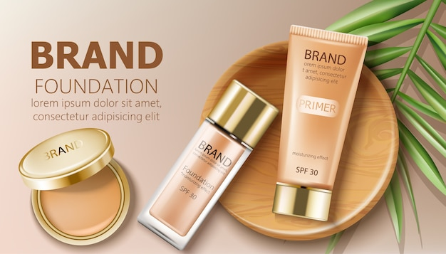 Foundation- en primerflessen in beige kleur