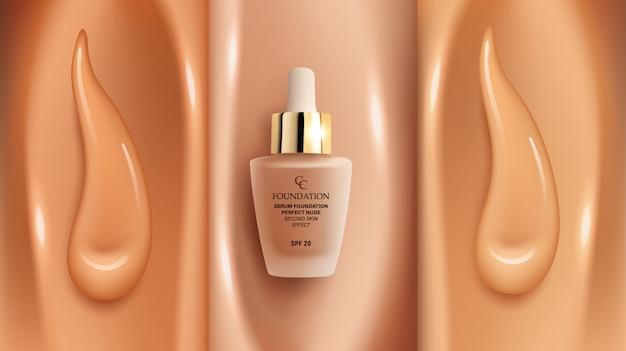 Foundation make-up achtergrond met verschillende tinten gezichtscrème concealer en glazen buis foundation verpakking mock up, apadvertising sjabloon voor catalogus, illustratie.