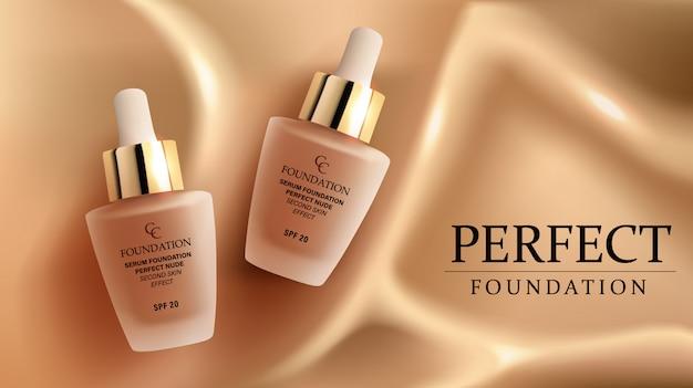 Foundation make-up, advertentiesjabloon voor catalogus met concealer crèmeglas