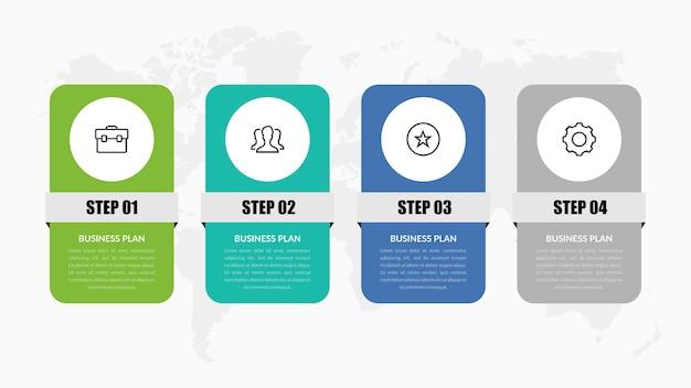 Four point infographic element voor het bedrijfsleven