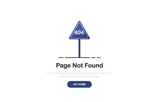 Fout 404-bestemmingspagina met verkeersbord in plat ontwerp