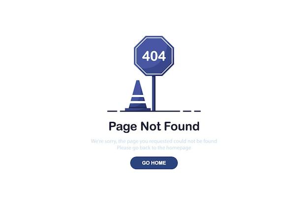 Fout 404-bestemmingspagina met verkeersbord in vlakke stijl