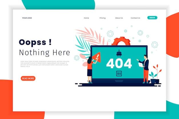Fout 404 concept bestemmingspagina met laptop