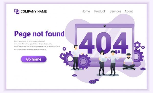 Fout 404 concept. mensen die op laptops werken en fouten zoeken en proberen op te lossen