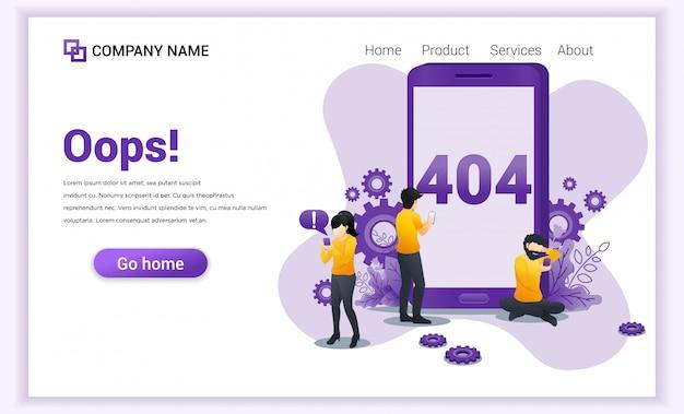 Fout 404 concept. mensen die problemen hebben met de website op hun mobiele telefoon