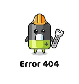 Fout 404 met de schattige batterijmascotte, schattig stijlontwerp voor t-shirt, sticker, logo-element