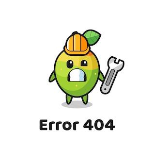 Fout 404 met de schattige mango-mascotte, schattig stijlontwerp voor t-shirt, sticker, logo-element