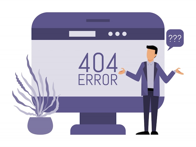 Fout 404 pagina's site en man. man krijgt een internetfout 404. pagina niet gevonden.
